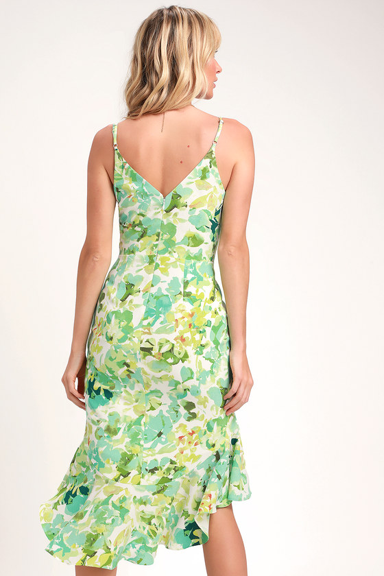 d79988818c9 Dress the Population Wendy - Ivory and Green Leaf Print - Midi