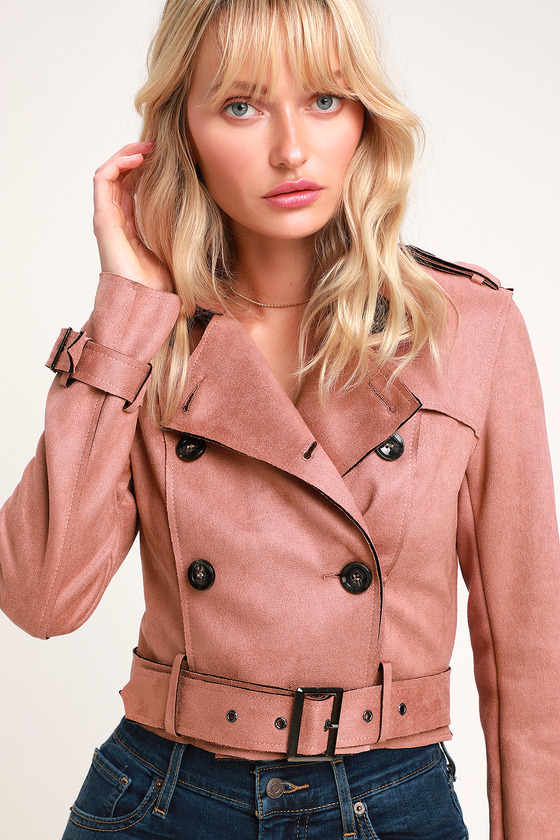 91c63719d7d Mauve Trench Coat - Vegan Suede Trench Coat - Cropped Trench Coat