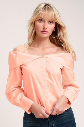 0fc66606afc29 Lulus Better With You Blush Pink Button-Up Off-the-Shoulder Top