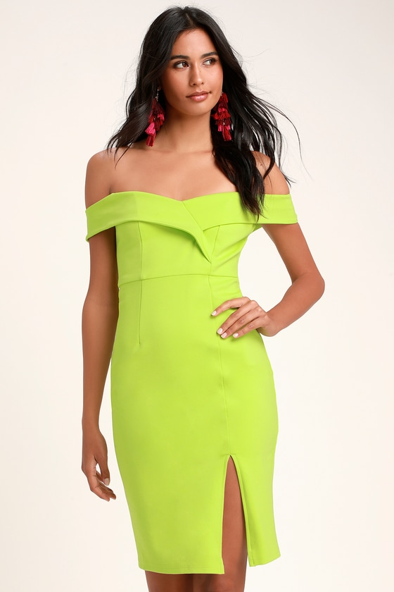 9102e8153978 Chic Lime Green Dress - Off-the-Shoulder Dress - Bodycon Dress