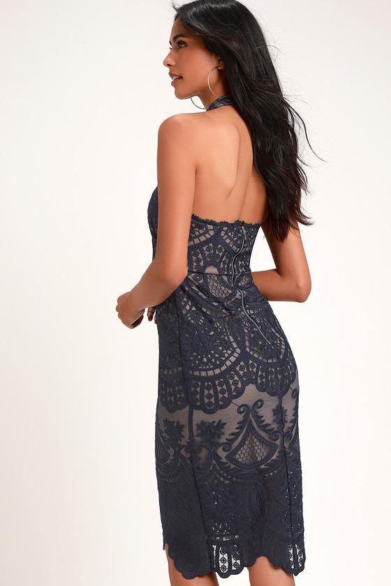 a6f718e2e29 Lovely Navy Blue Dress - Halter Dress - Lace Dress - Midi Dress