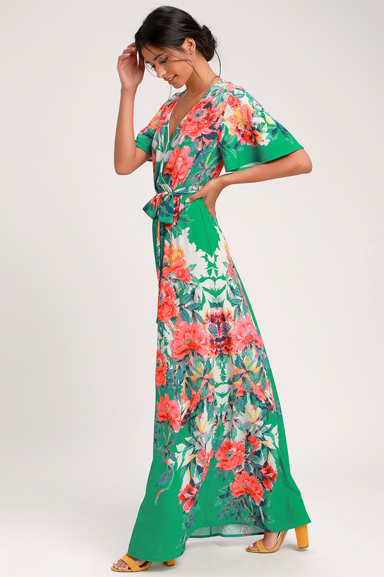 3b2fb651470 Cute Green Maxi Dress - Floral Print Maxi Dress - Green Dress