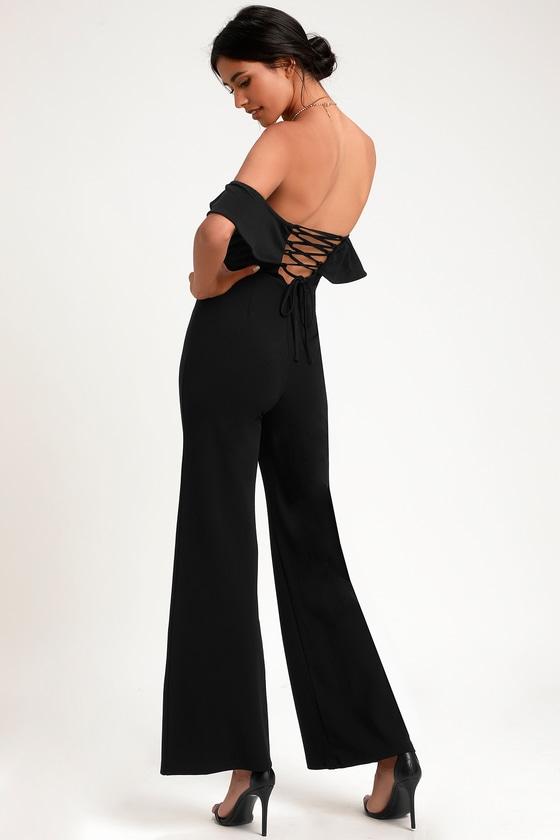 0ee55ed6d531c Black Jumpsuit - Lace-Up Jumpsuit - Off-the-Shoulder Jumpsuit