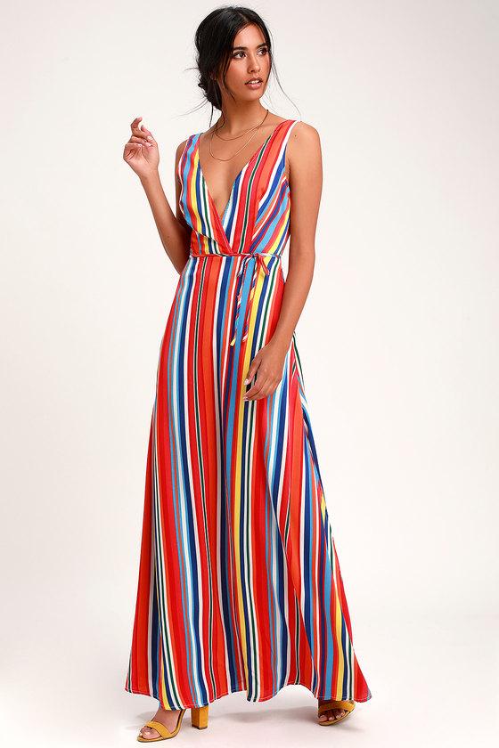 0058aed7a8c9 Stunning Rainbow Dress - Striped Dress - Backless Maxi Dress