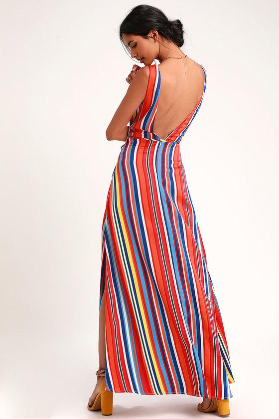 cd953f4633f Stunning Rainbow Dress - Striped Dress - Backless Maxi Dress