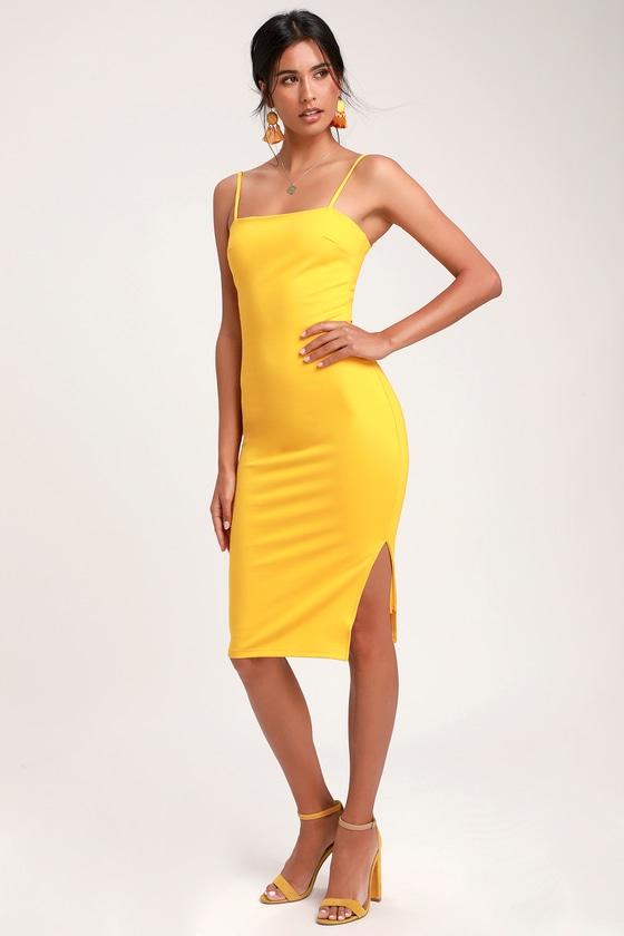 cbd8383df153 Sexy Yellow Dress - Bodycon Dress - Midi Dress - Dress