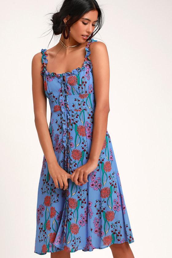261df5dc6de31 ASTR the Label Blended Dress - Blue Floral Dress - Midi Dress