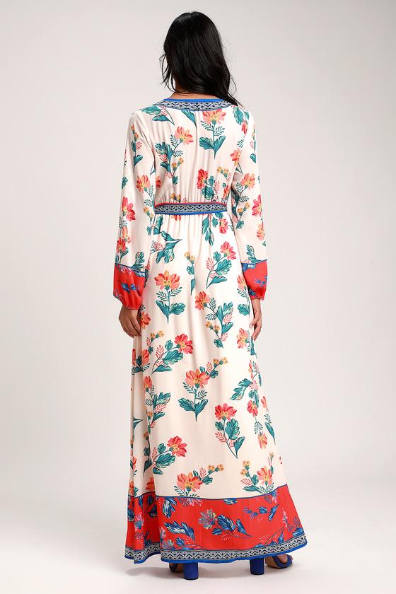 bac09e96fed7 Sunrise to The Occasion Cream Multi Print Long Sleeve Maxi Dress