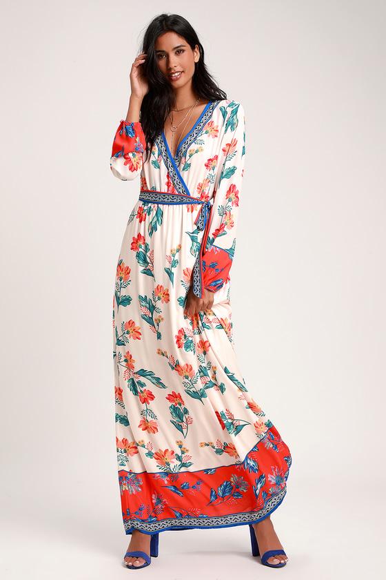 4e0cc71b68c6 Cute Cream Multi Print Dress - Maxi Dress - Long Sleeve Dress