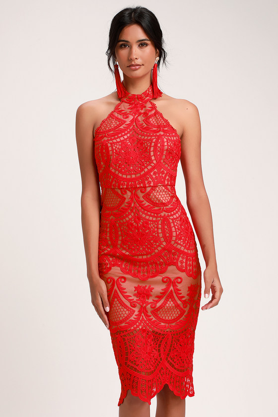 b8f69b2696 Lovely Red Dress - Halter Dress - Lace Dress - Midi Dress