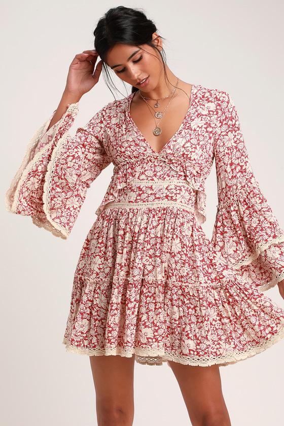 70s Dresses – Disco Dresses, Hippie Dresses, Wrap Dresses Kristall Berry Red Floral Print Bell Sleeve Mini Dress - Lulus $128.00 AT vintagedancer.com