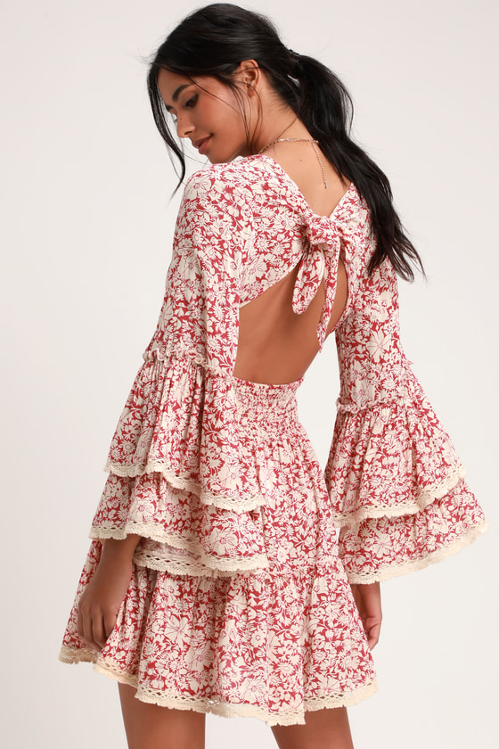 d85dca046838 Free People Kristall Mini - Red Floral Dress - Bell Sleeve Dress