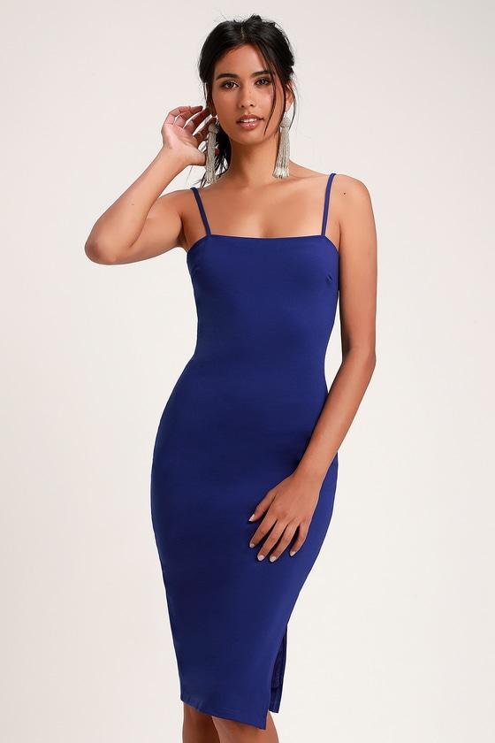 30c77586648 Sexy Cobalt Blue Dress - Bodycon Dress - Midi Dress - Dress