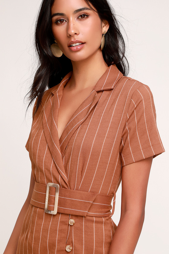 cc7f4568217 Cute Striped Shirt Dress - Brown Striped Dress - Belted Dress