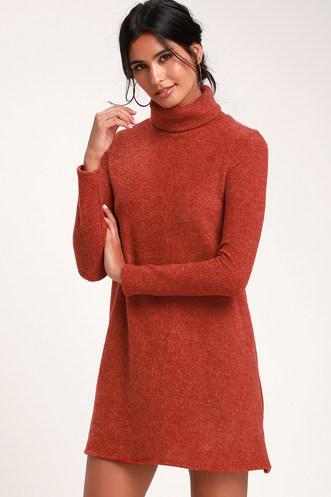 a2fc4f4e6ab Alaina Rust Red Long Sleeve Turtleneck Sweater Dress