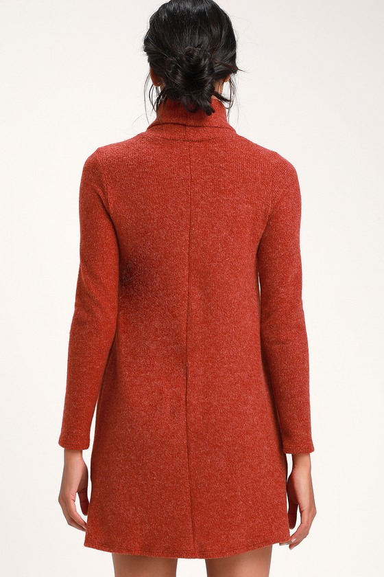 dabc245c Cute Sweater Dress - Red Turtleneck Dress - Long Sleeve Dress