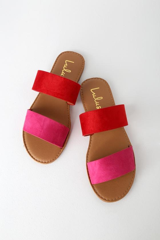 95f8cff8cbf88 Cute Red Fuchsia Sandals - Slide Sandals - Flat Sandals - Slides