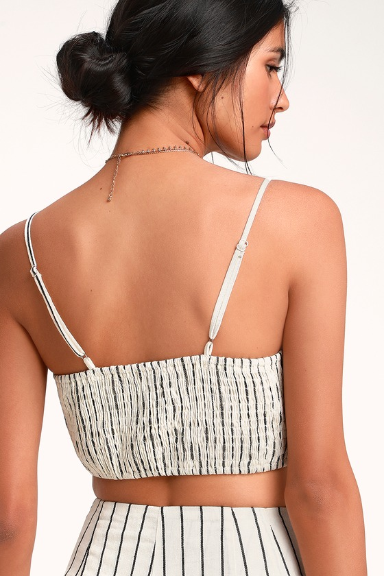 763934210775f Chic Ivory Striped Top - Tie-Front Top - Tie-Front Crop Top