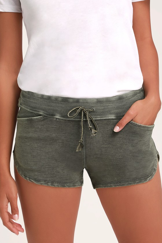 58fdab8a3e Free People Go Getter - Washed Army Green Shorts - Shorts