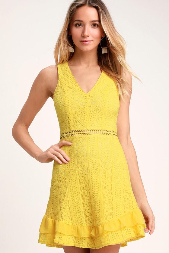 b31f6ab959 Cute Lace Dress - Yellow Dress - Ruffle Dress - Skater Dress