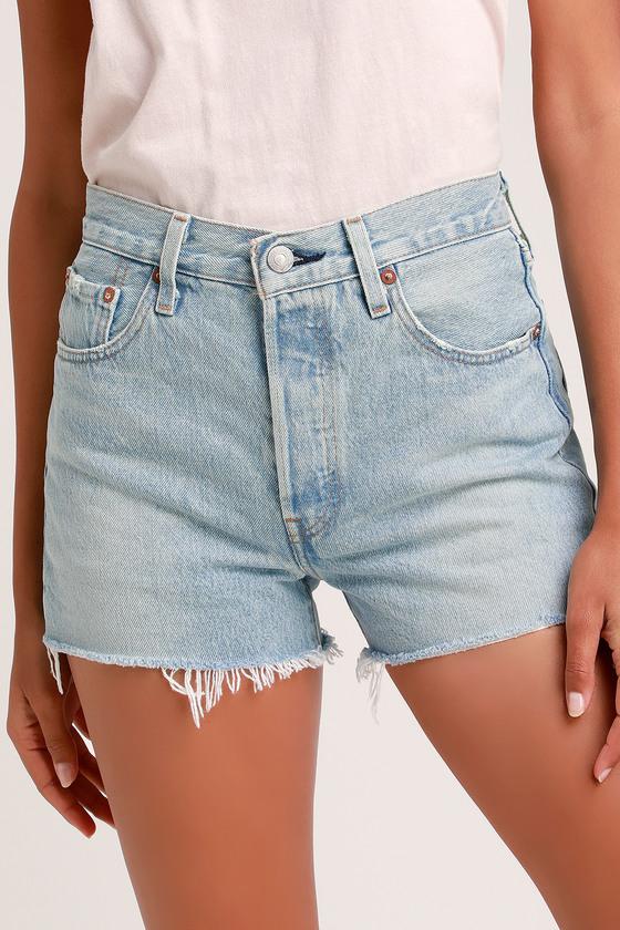 5efbb9a3a Levi's 501 High-Rise Shorts - Light Wash Denim Shorts - Cut-Offs