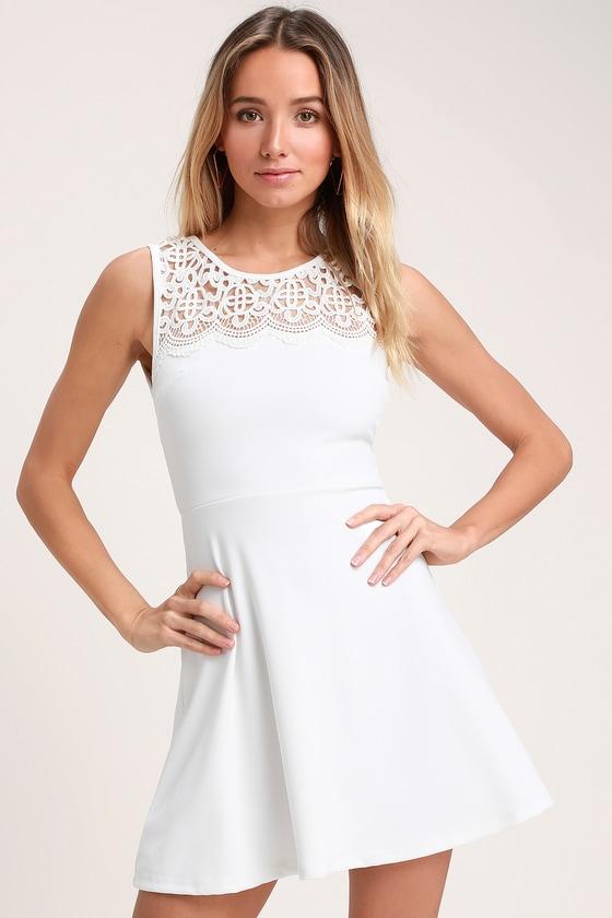 aba76ac6761 Cute Lace Skater Dress - White Skater Dress - Little White Dress