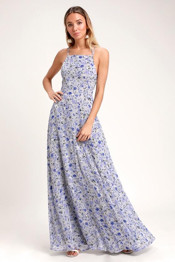 e3a9124f071 Lovely Light Blue Floral Print Dress - Lace-Up Dress - Maxi Dress