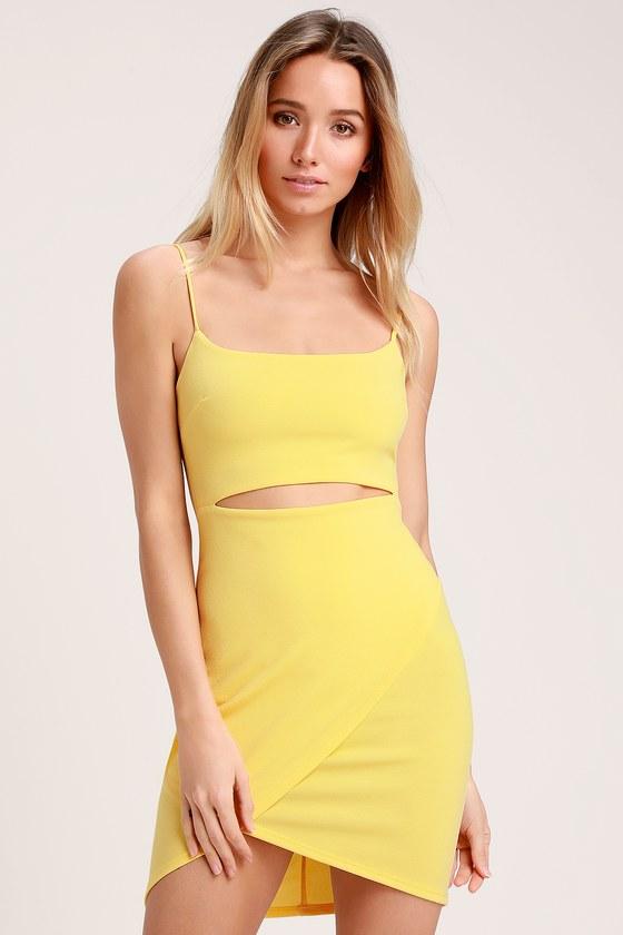 0877250c41a Sexy Yellow Dress - Cutout Dress - Bodycon Dress - Cutout Bodycon