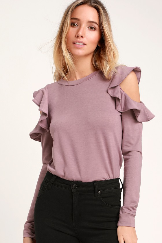 fab3261f7a4d0f Kady Lavender Ruffle Cold Shoulder Long Sleeve Sweater Top