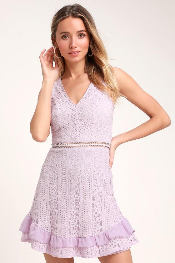 f5d6a5e3f0532 Cute Lace Dress - Lavender Dress - Ruffle Dress - Skater Dress