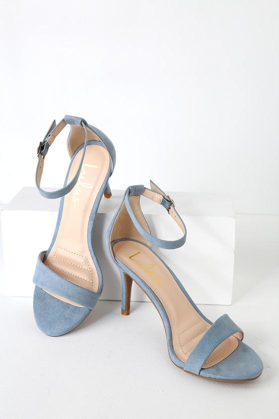 fb50216b874b Slate Blue Heels - Single Sole Heels - Ankle Strap Heels