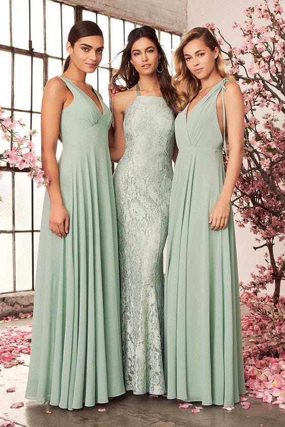 Dance the Night Away Sage Green Backless Maxi Dress - Lulus