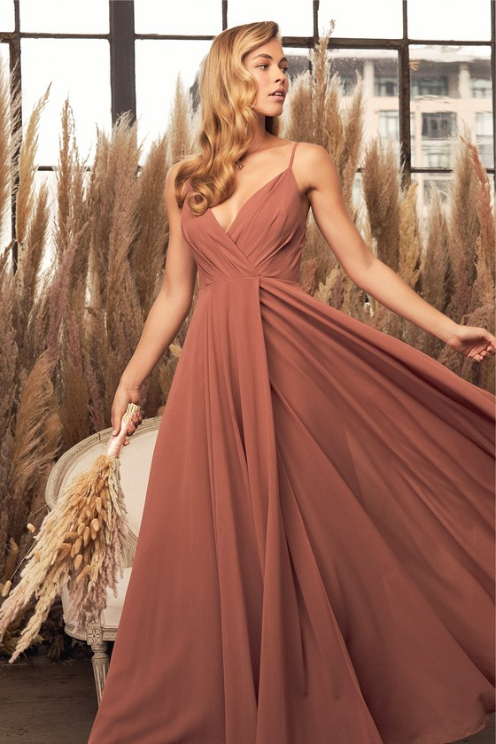 Lovely Rusty Rose Dress - Maxi Dress - Gown - Bridesmaid Dress e878a30f5
