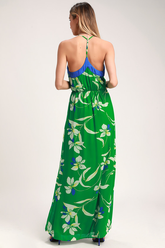 57fe981fffe Cute Green Floral Print Dress - Maxi Dress - Floral Maxi Dress