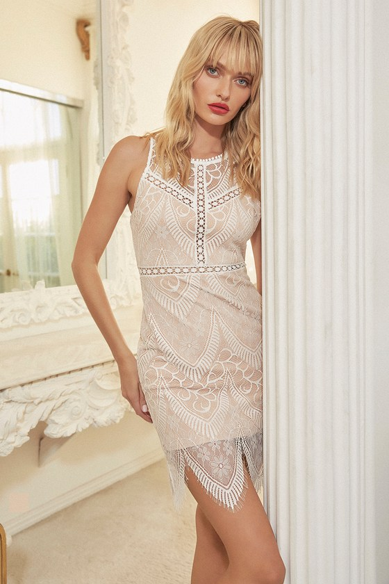 7d47a6c422 Lovely White Lace Dress - White and Nude Lace Dress - Bodycon Dress