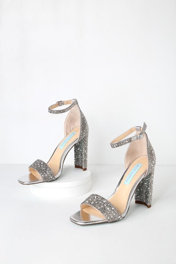 48975259f60 Blue by Betsey Johnson Rina - Silver Rhinestone Heels - Heels