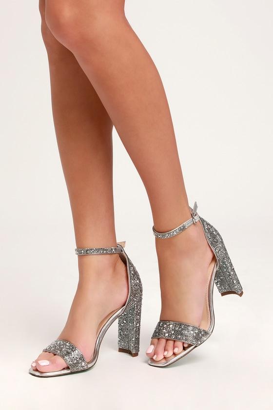 c6e866354 Blue by Betsey Johnson Rina - Silver Rhinestone Heels - Heels