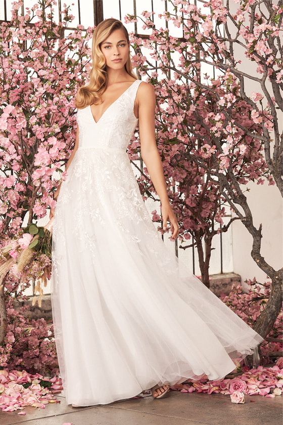 a6930a635d4 Affordable Wedding Dresses from Lulus. Zolie White Embroidered Backless  Maxi Dress - Lulus