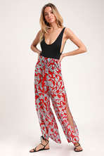 fcb5e67517 Beachy Keen Red and Light Blue Floral Print Swim Cover-Up Pants