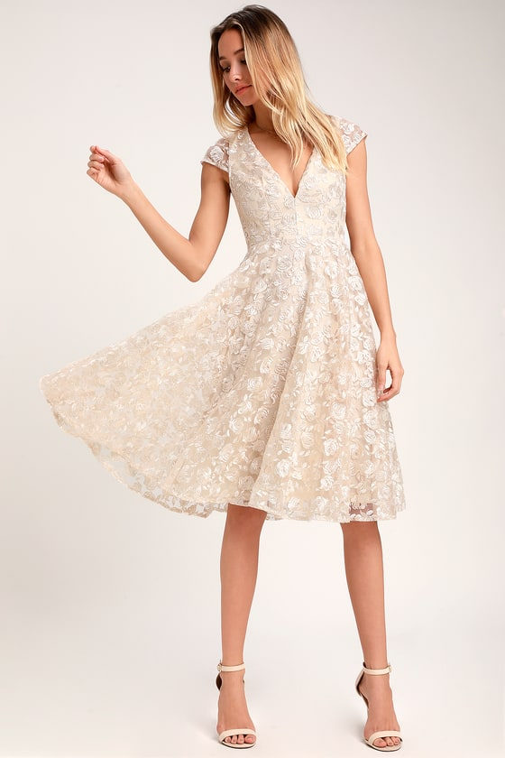 5ed79a2437 Stunning Lace Midi Dress - Champagne Dress - Midi Skater Dress