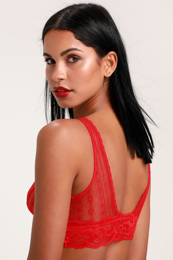 6f580e5fefa32 Free People Lina - Red Bralette - Red Lace Bralette - Sheer Bra
