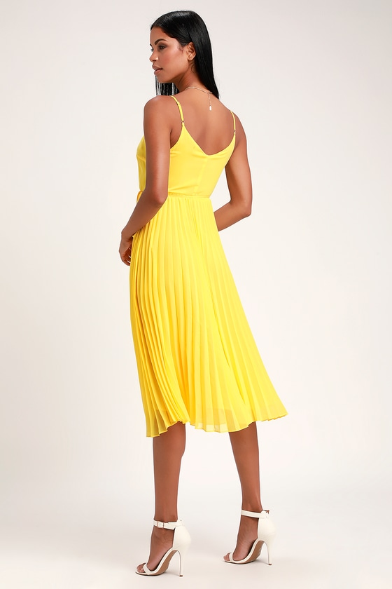 7f9c8dde6f Lovely Yellow Dress - Yellow Wrap Dress - Pleated Midi Dress