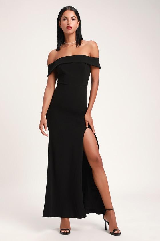b9658a9abf66fc Glam Black Dress - Off-the-Shoulder Maxi Dress - OTS Maxi