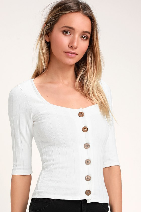 Central Park White Three Quarter Sleeve Cardigan Sweater by Free People