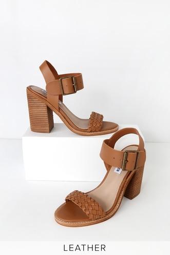 dae8498ff4a Cadence Cognac Leather High Heel Sandals