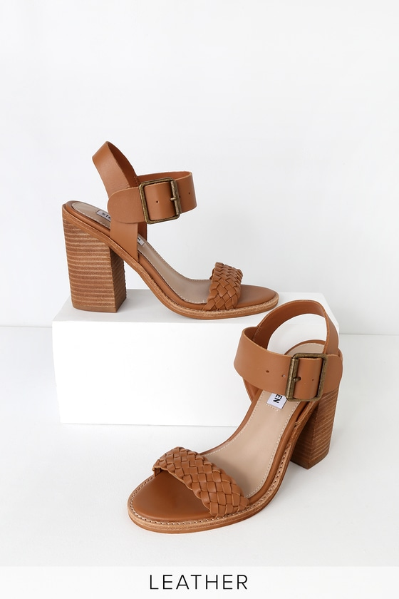 Cadence Cognac Leather High Heel Sandals by Steve Madden