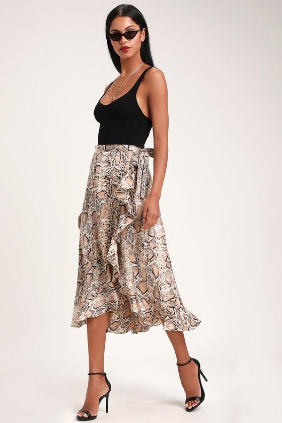 7023566783 Cute Snake Print Skirt - Wrap Skirt - Midi Wrap Skirt