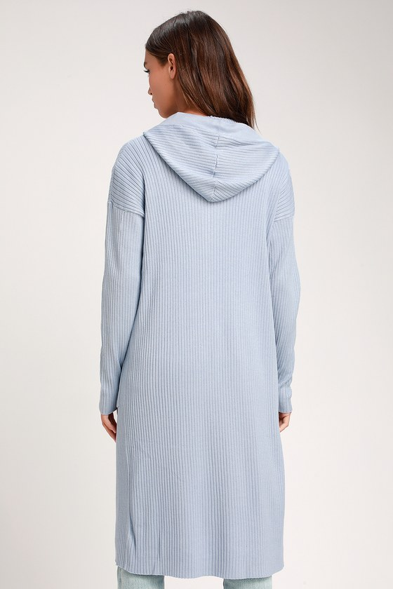 56e375cb0395 Cute Light Blue Sweater - Cardigan Sweater - Long Ribbed Cardigan