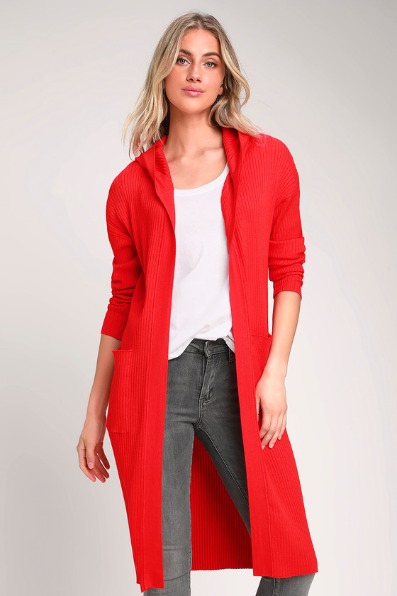 Becket Red Ribbed Hooded Long Cardigan Sweater