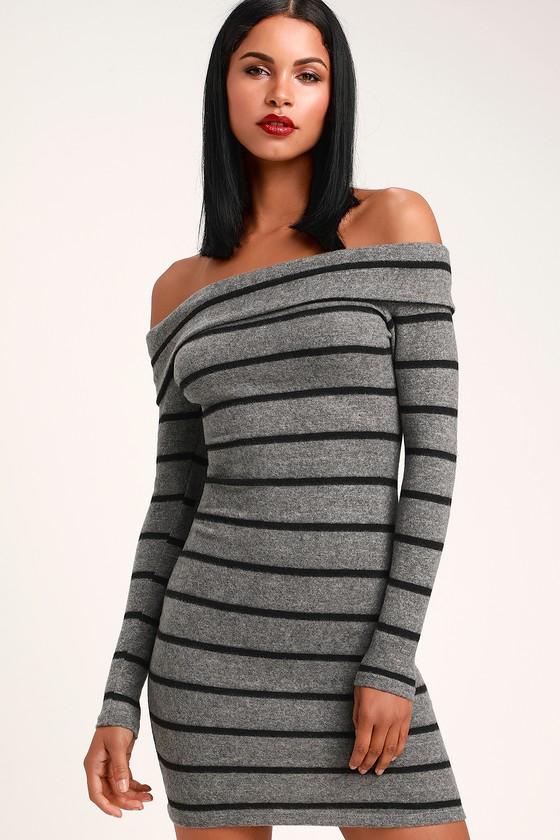 34dfade82bd Cute Grey Striped Sweater Dress - Off-the-Shoulder Sweater Dress